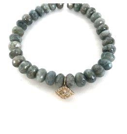 SYDNEY EVAN Moss Aquamarine & Evil Eye Bracelet