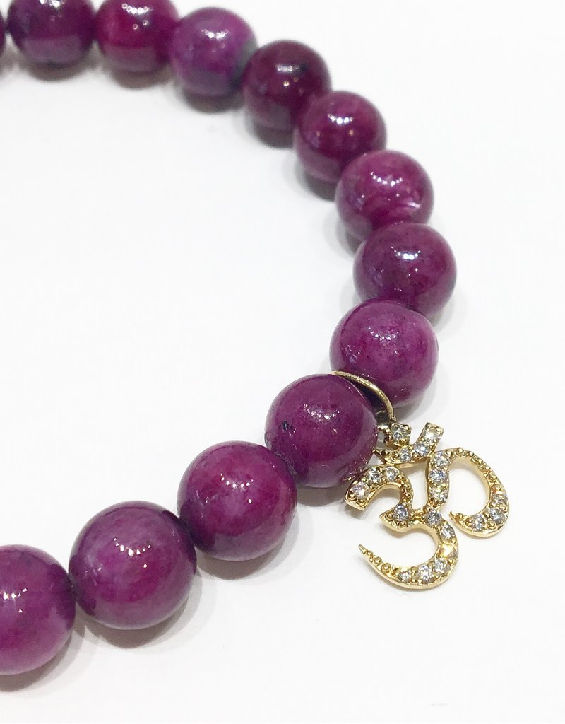SYDNEY EVAN Natural Ruby & Om Bracelet