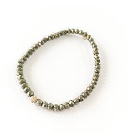 SYDNEY EVAN Champagne Pyrite & Pave Ball Bracelet