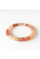 SYDNEY EVAN Peach Moonstone & Diamond Rondelle Bracelet