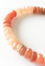 SYDNEY EVAN Peach Moonstone & Diamond Rondelle Bracelet