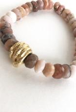 SYDNEY EVAN Pink Opal & Coiled Snake Bracelet
