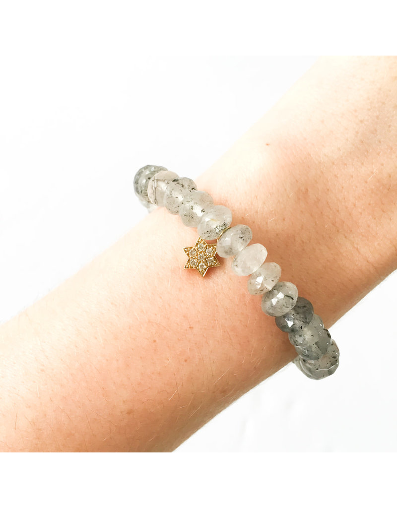 SYDNEY EVAN Tourmalated Quartz & Star Bracelet