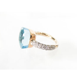 POMELLATO Diamond Nudo Ring Blue Topaz