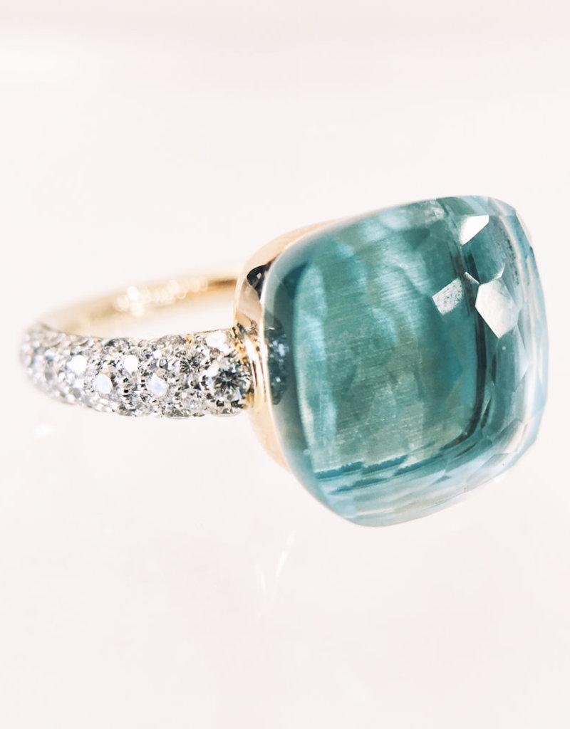 POMELLATO Blue Topaz with Diamond Nudo Ring