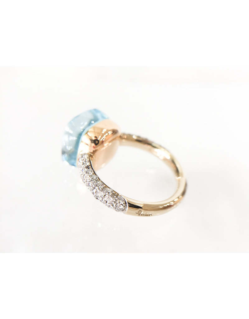 POMELLATO Blue Topaz with Diamond Nudo Ring