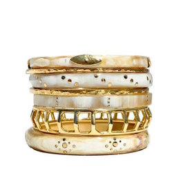 ASHLEY PITTMAN Almasi Bangle Set Light Horn