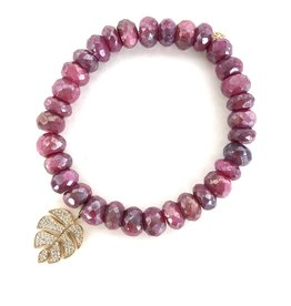 SYDNEY EVAN Red Moonstone & Monstera Leaf Bracelet