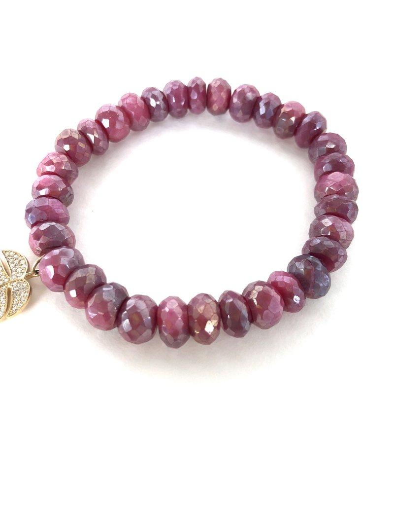 SYDNEY EVAN Red Moonstone & Monstera Leaf Bracelet