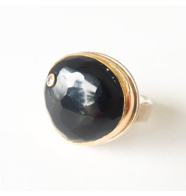JAMIE JOSEPH Black Onyx Ring with Diamond