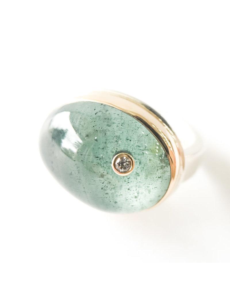 JAMIE JOSEPH Oval Moss Aqua Diamond Ring