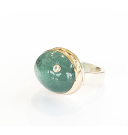 JAMIE JOSEPH Oval Moss Aqua Diamond Ring