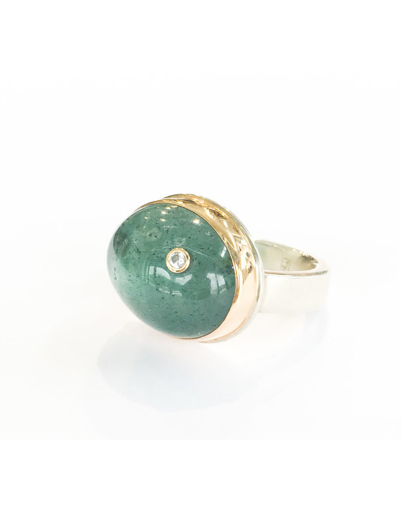 JAMIE JOSEPH Oval Moss Aquamarine Ring