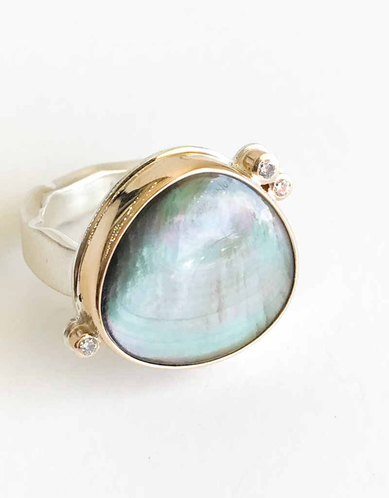 JAMIE JOSEPH Black Mother of Pearl Ring with Diamonds