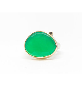 JAMIE JOSEPH Green Onyx Ring with Black Diamond