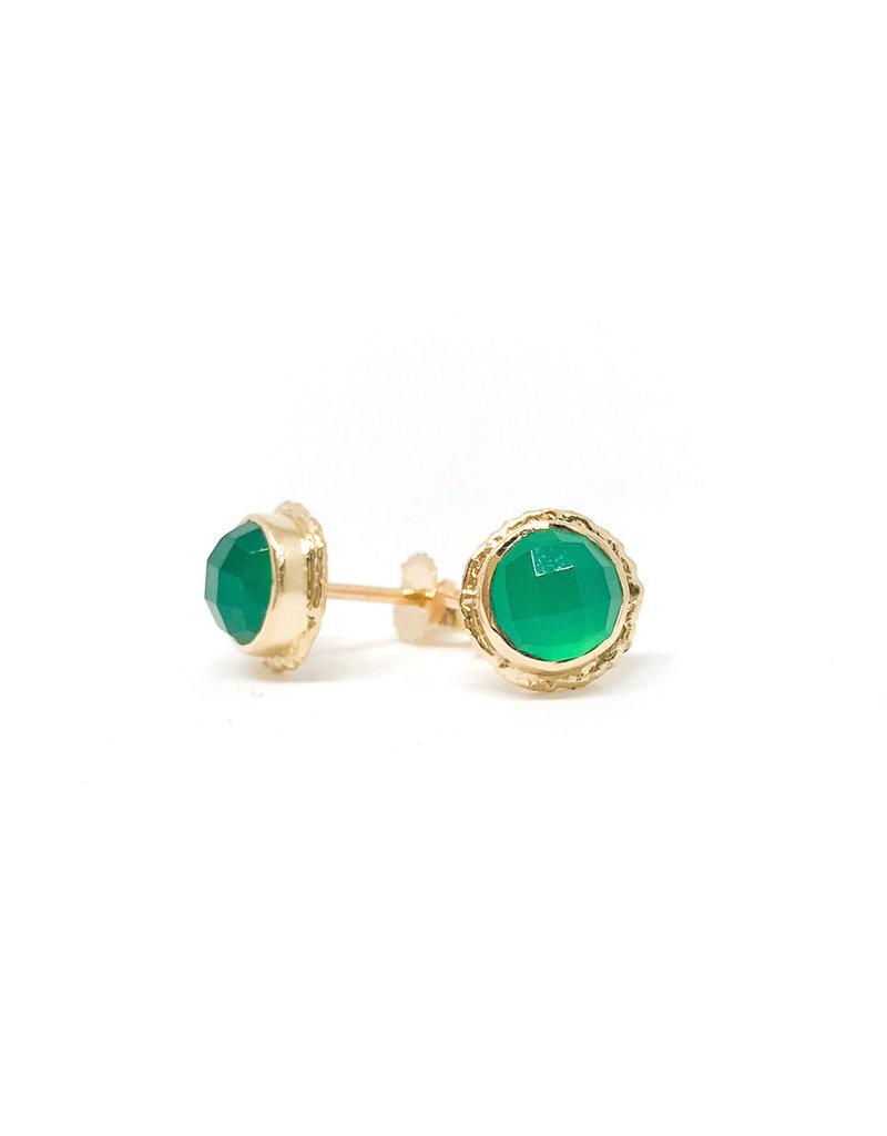 JAMIE JOSEPH Green Onyx Ruffled Post Earrings