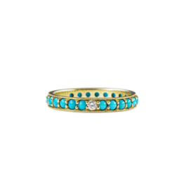 ILA Dunbar Turquoise & Diamond Eternity Band Ring