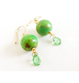 MALLARY MARKS Spun Sugar Earrings - Turquoise & Tsavorite