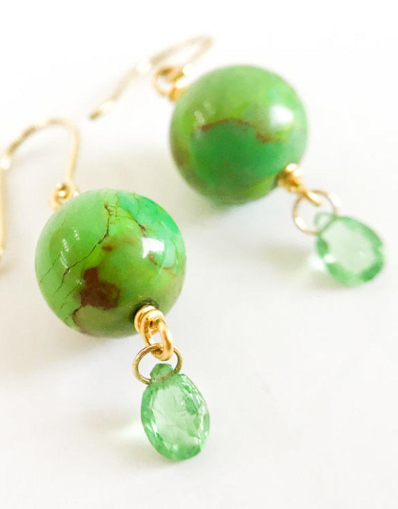 MALLARY MARKS Spun Sugar Earrings - Turquoise & Tsavorite