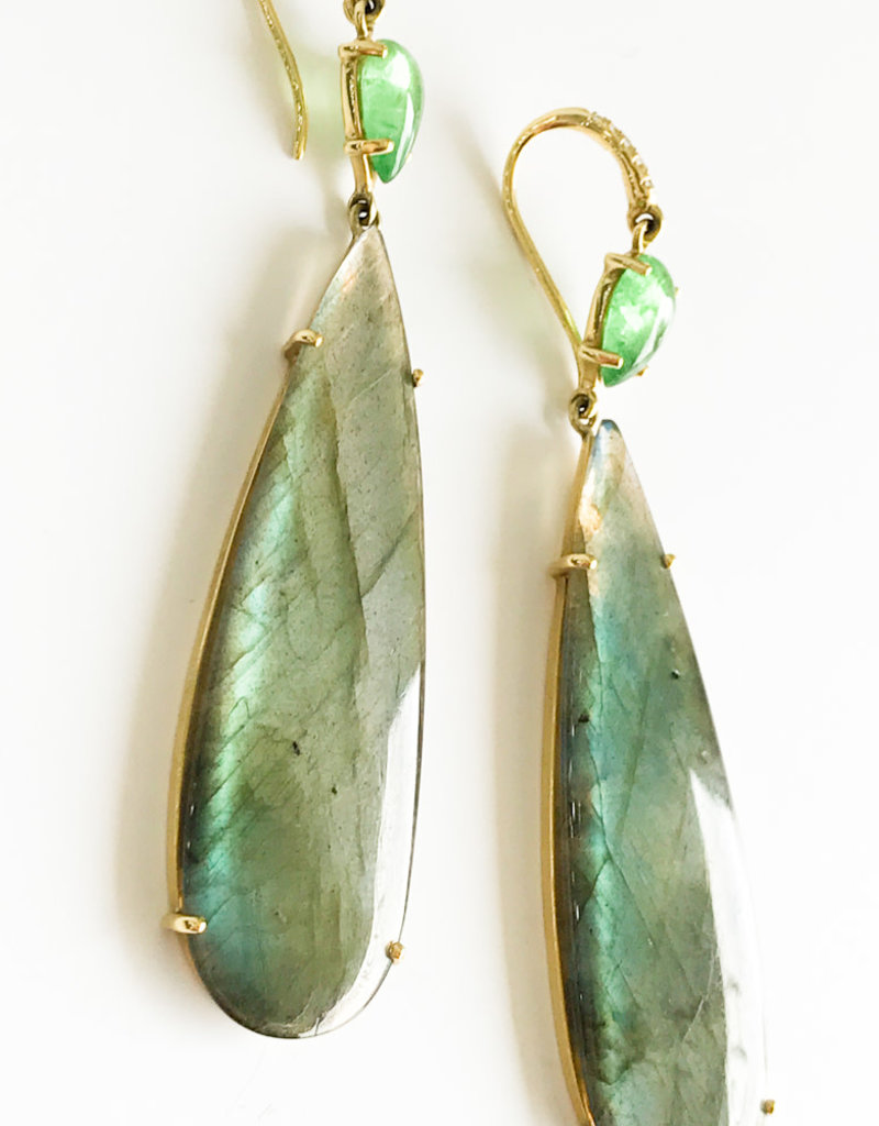 LAUREN K Labradorite & Tsavorite Joyce Earrings
