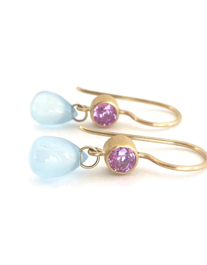 MALLARY MARKS Apple & Eve Earrings - Pink Sapphire & Aquamarine