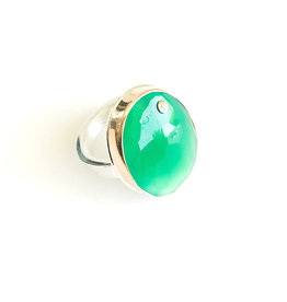 JAMIE JOSEPH Green Onyx Ring with Diamond