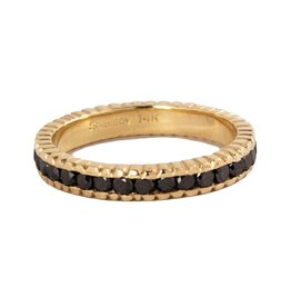 SHAESBY Large Textured Infinity Black Diamond Band Ring