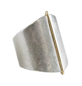 SHAESBY Large Gold Seam Ring Bright Silver