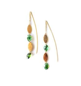 SHAESBY Double Leaf Thread-Thru Ear Green Tourmaline