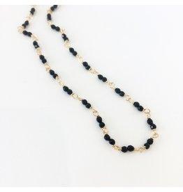 PAGE SARGISSON 10KT Gold Wire Wrap Necklace W/ Onyx