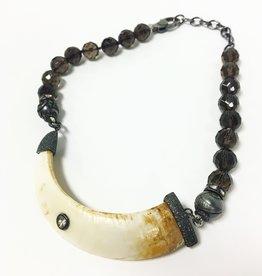 S CARTER Diamond Capped Tusk Smokey Quartz Necklace