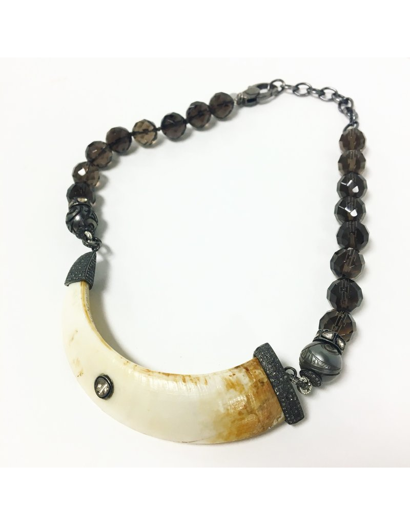 S CARTER Diamond Capped Tusk Smokey Quartz Necklace