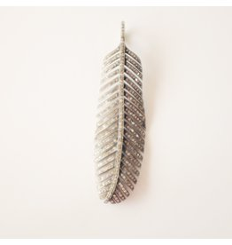 S CARTER Large Pave Diamond Feather