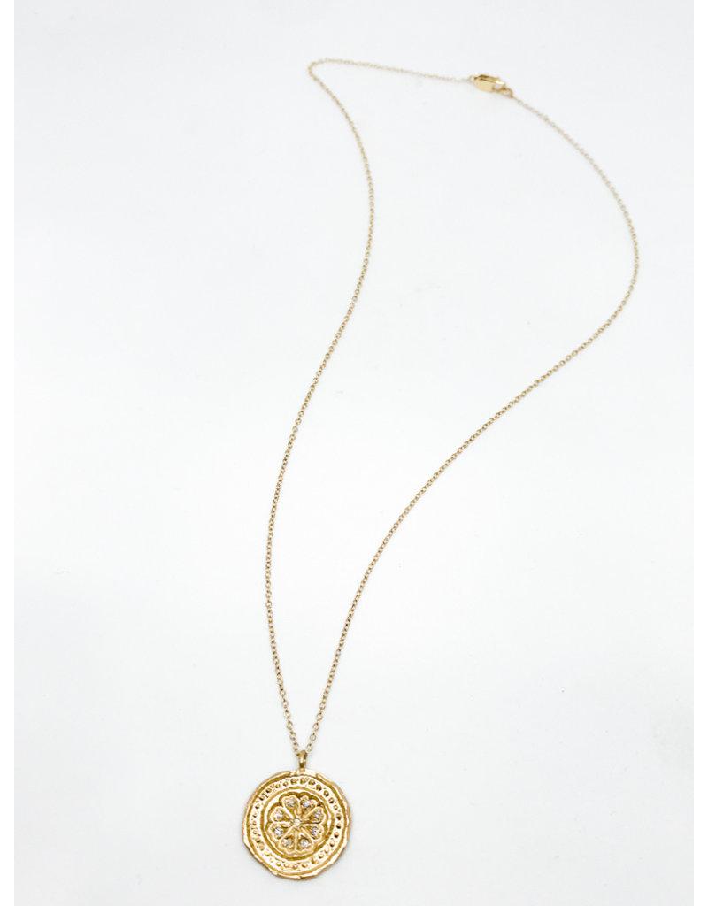 PAGE SARGISSON 10K Gold Medallion W/ Diamonds Necklace