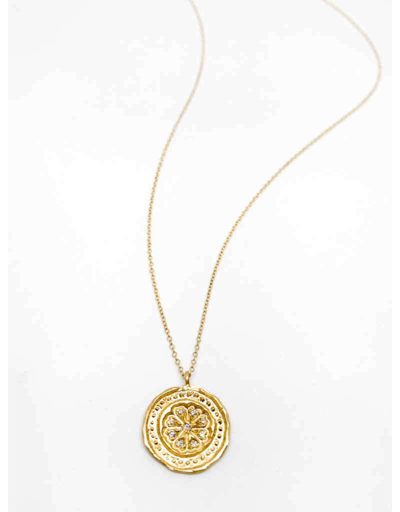 PAGE SARGISSON Gold Medallion & Diamond Necklace