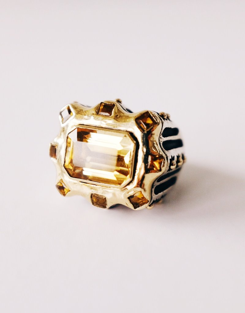 DIAN MALOUF Gold and Citrine Ring
