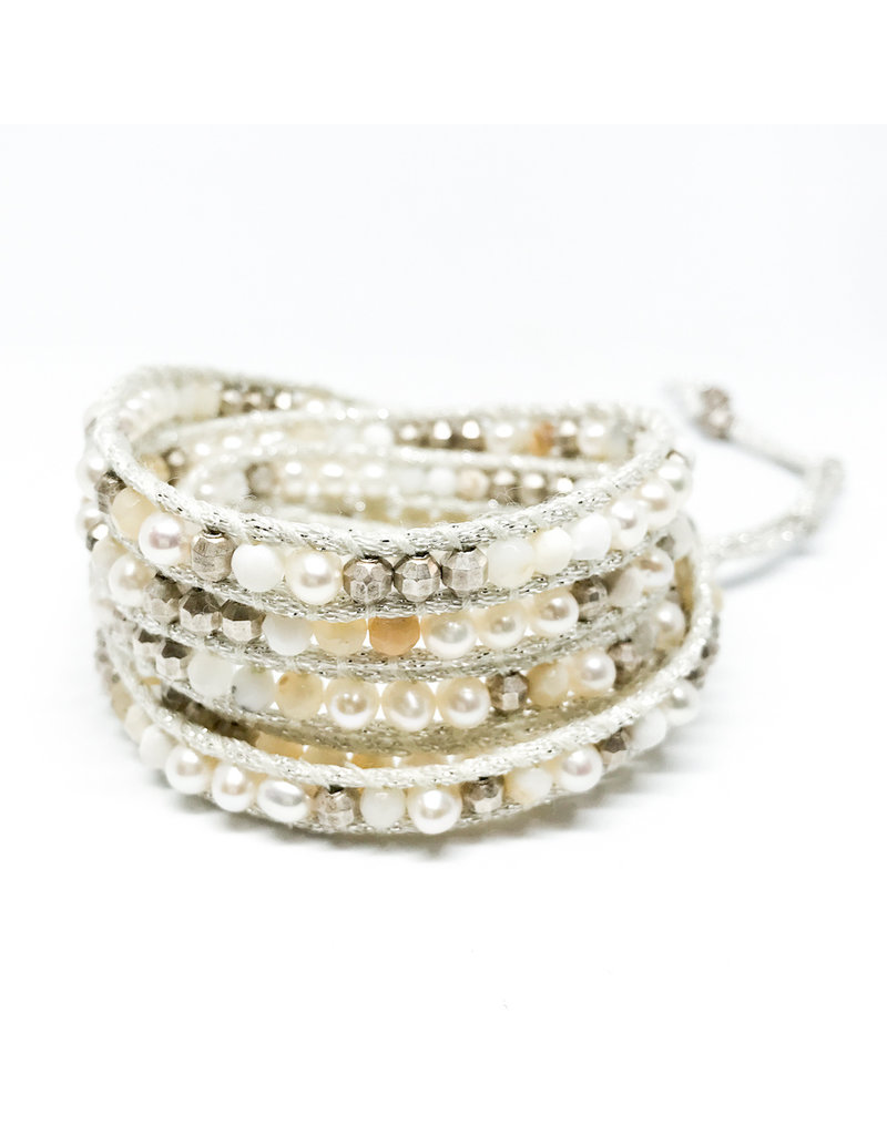 CHAN LUU White Pearl & Stone Mix 5 Wrap Bracelet