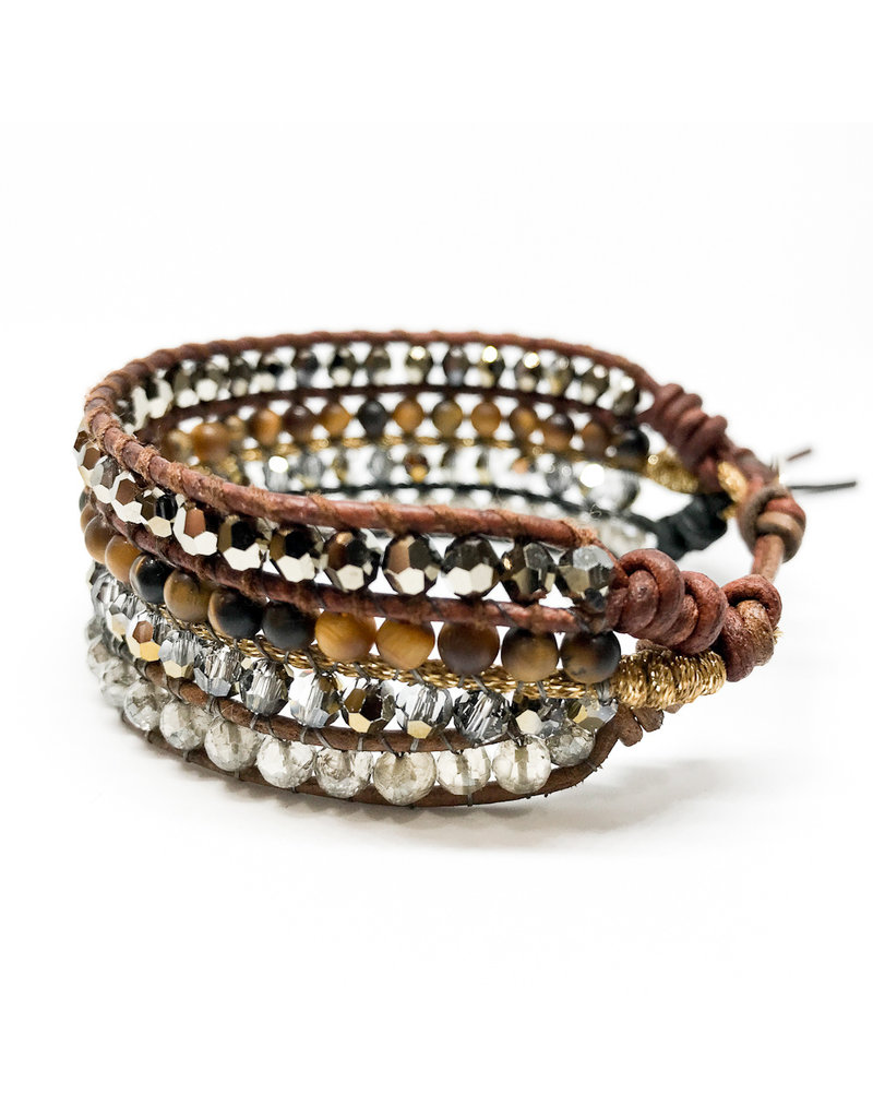 CHAN LUU Crystal Mix Cuff Bracelet