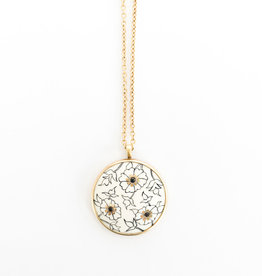 ME & RO 18K Paisley Ivory Disc Pendant Necklace