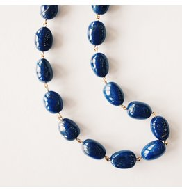 ME & RO 18K Gold and Lapis Baroque Chain Necklace