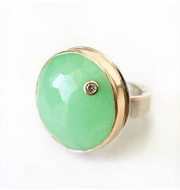 JAMIE JOSEPH Green Quartz Ring with Diamond