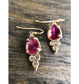 ERICA MOLINARI 18K Pink Tourmaline Diamond Triplet Earrings