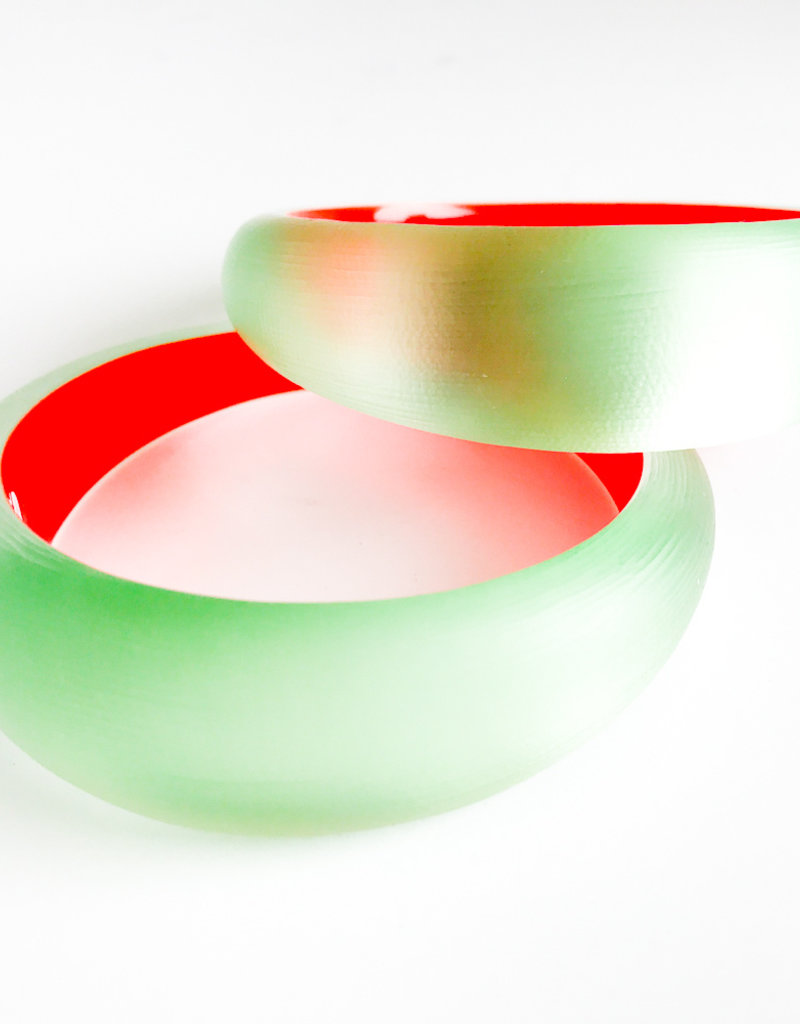 ALEXIS BITTAR Medium Tapered Bangle - Seafoam/Red