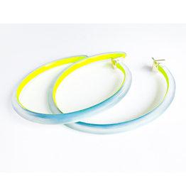 ALEXIS BITTAR Large Skinny Hoop - Montana Blue/Yellow