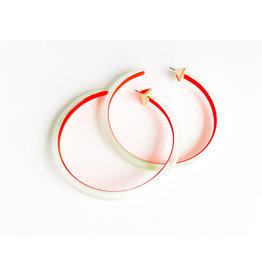 ALEXIS BITTAR Large Skinny Hoop - Seafoam/Red