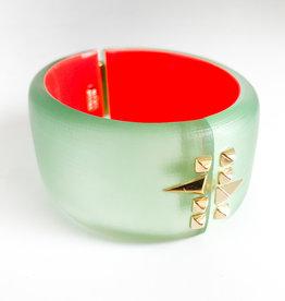 ALEXIS BITTAR Golden Studded Hinge Bracelet Seafoam/Red