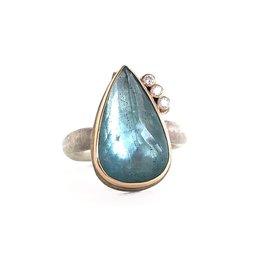 JAMIE JOSEPH Moss Aquamarine Ring with Diamonds