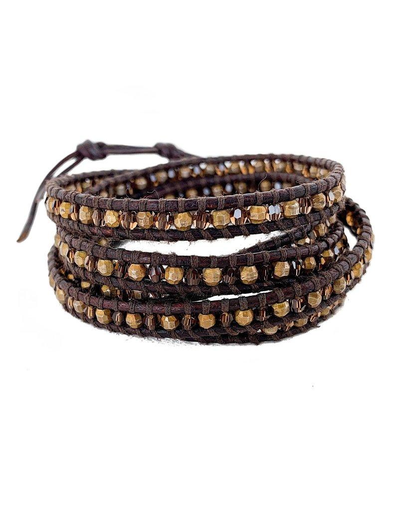CHAN LUU Smokey Topaz & Gold Bead 5 Wrap Bracelet