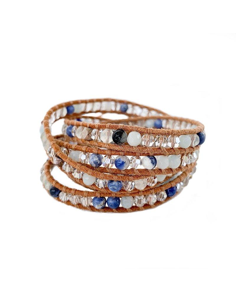 CHAN LUU Amazonite Crystal Silver 5 Wrap Bracelet