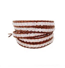 CHAN LUU Pink Jade 5 Wrap Bracelet